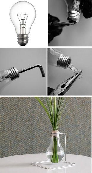 Vas Bunga dari Bohlam Bekas