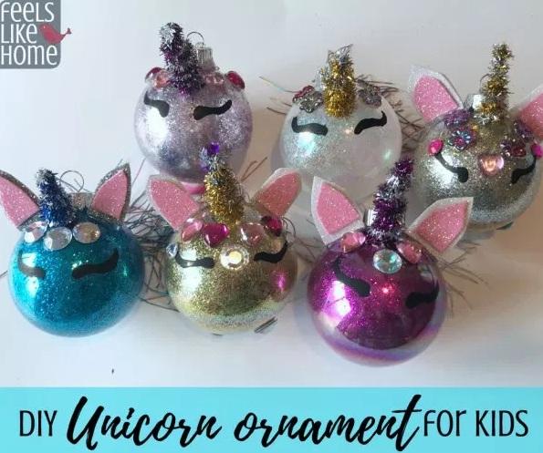DIY Hiasan Pohon Natal untuk Anak-Anak - Unicorn Ornament